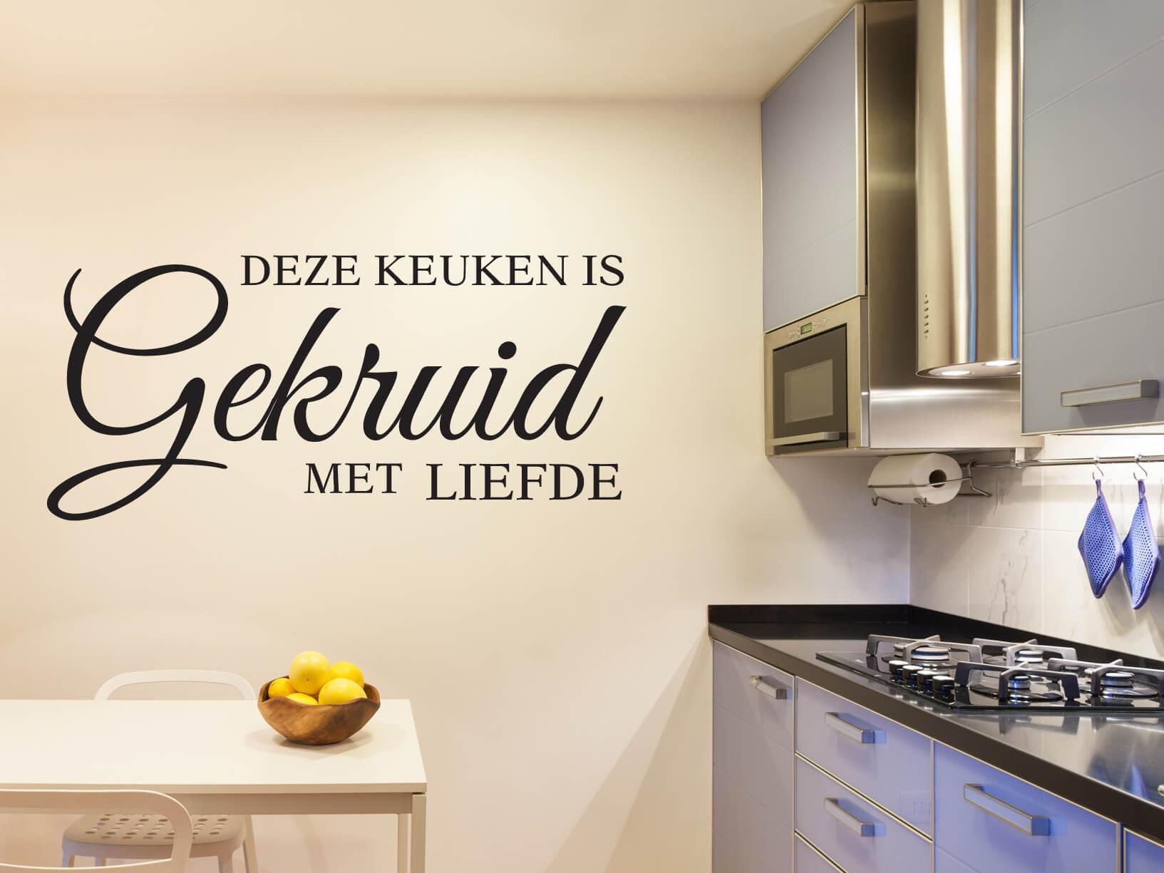 Muursticker deze keuken is gekruid met liefde - Keuken uitgerust voor klein gebied ...
