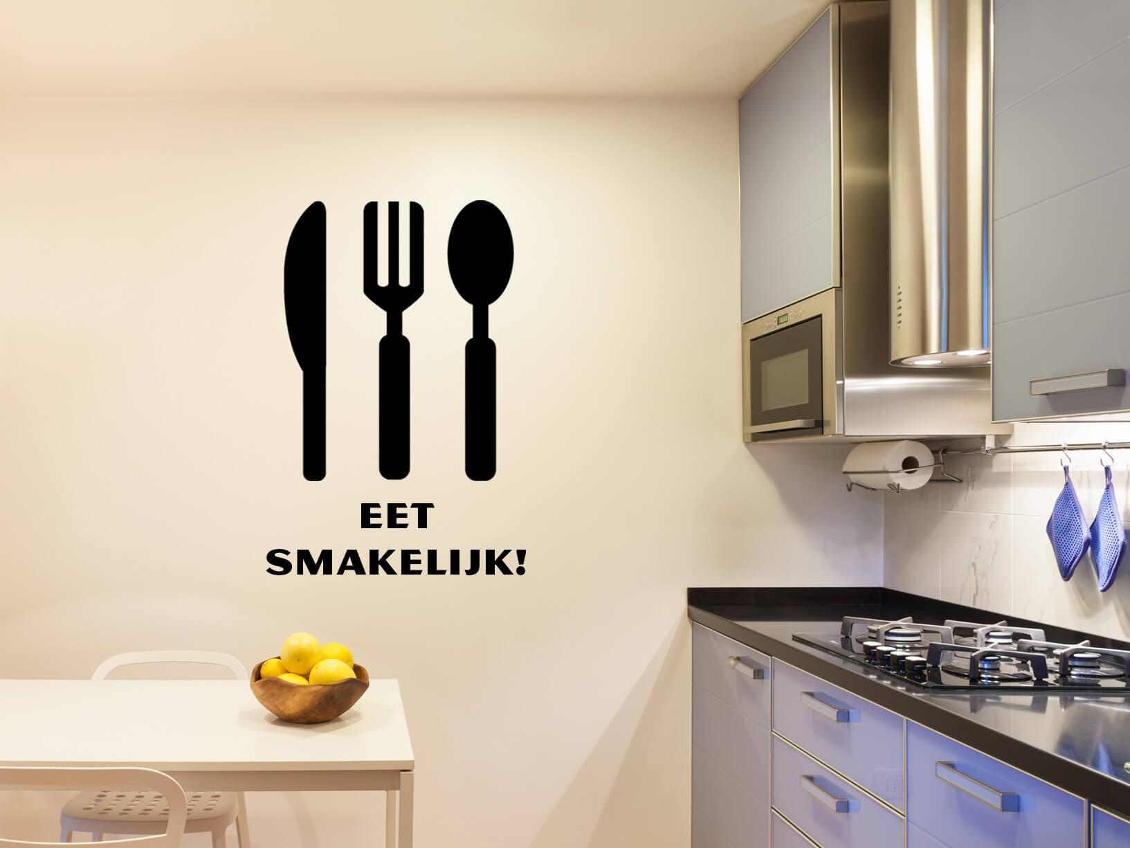 """Muurstickers Keuken Eet Smakelijk : Muursticker """"Eet smakelijk"""" met bestek"""