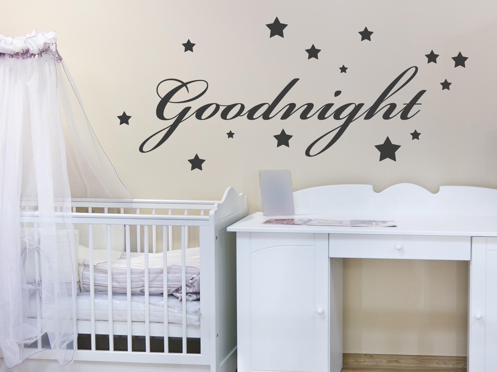 muursticker quotgoodnight met sterrenquot kinderkamer muurstickers