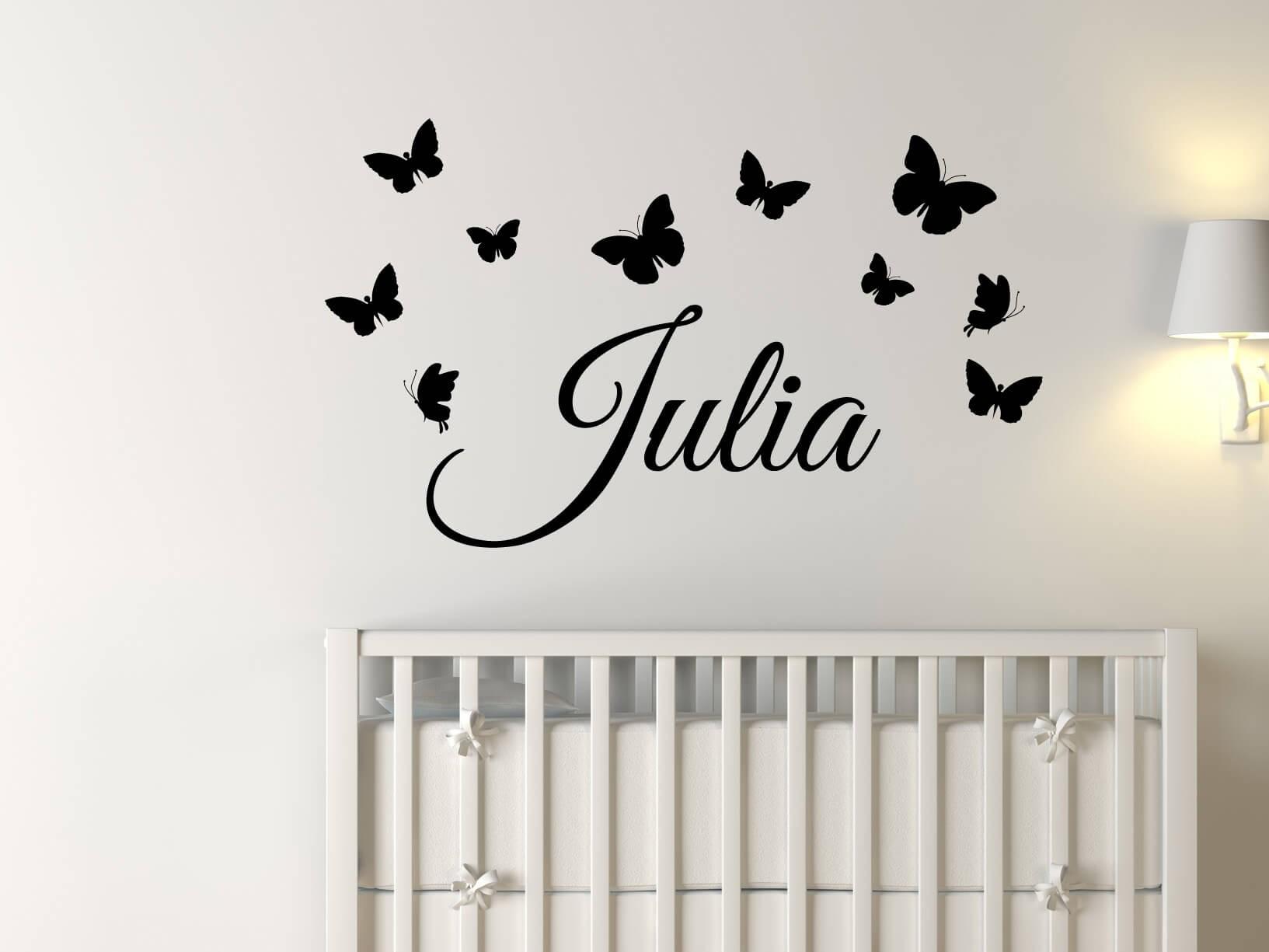 Muursticker eigen naam met vlinders kinderkamer muurstickers for Muurdecoratie babykamer