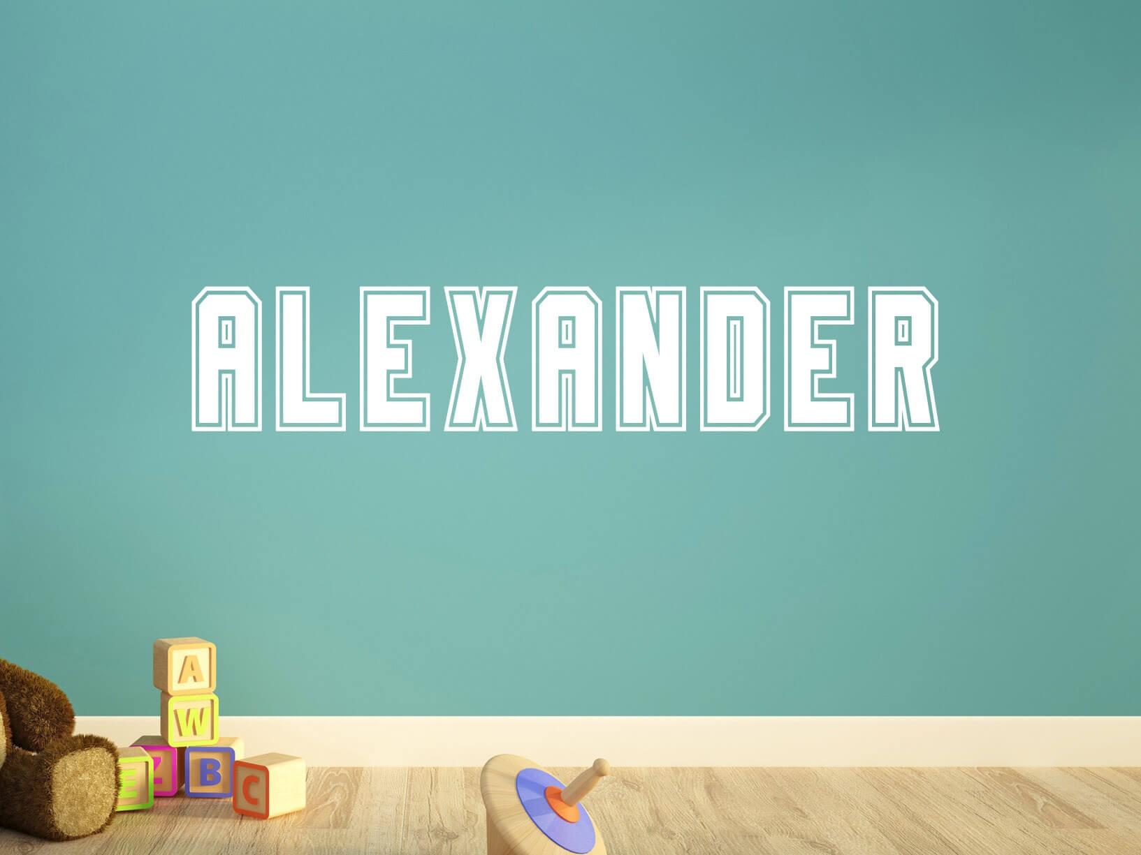 Muursticker eigen tekst in stoere blokletter for Je eigen slaapkamer ontwerpen