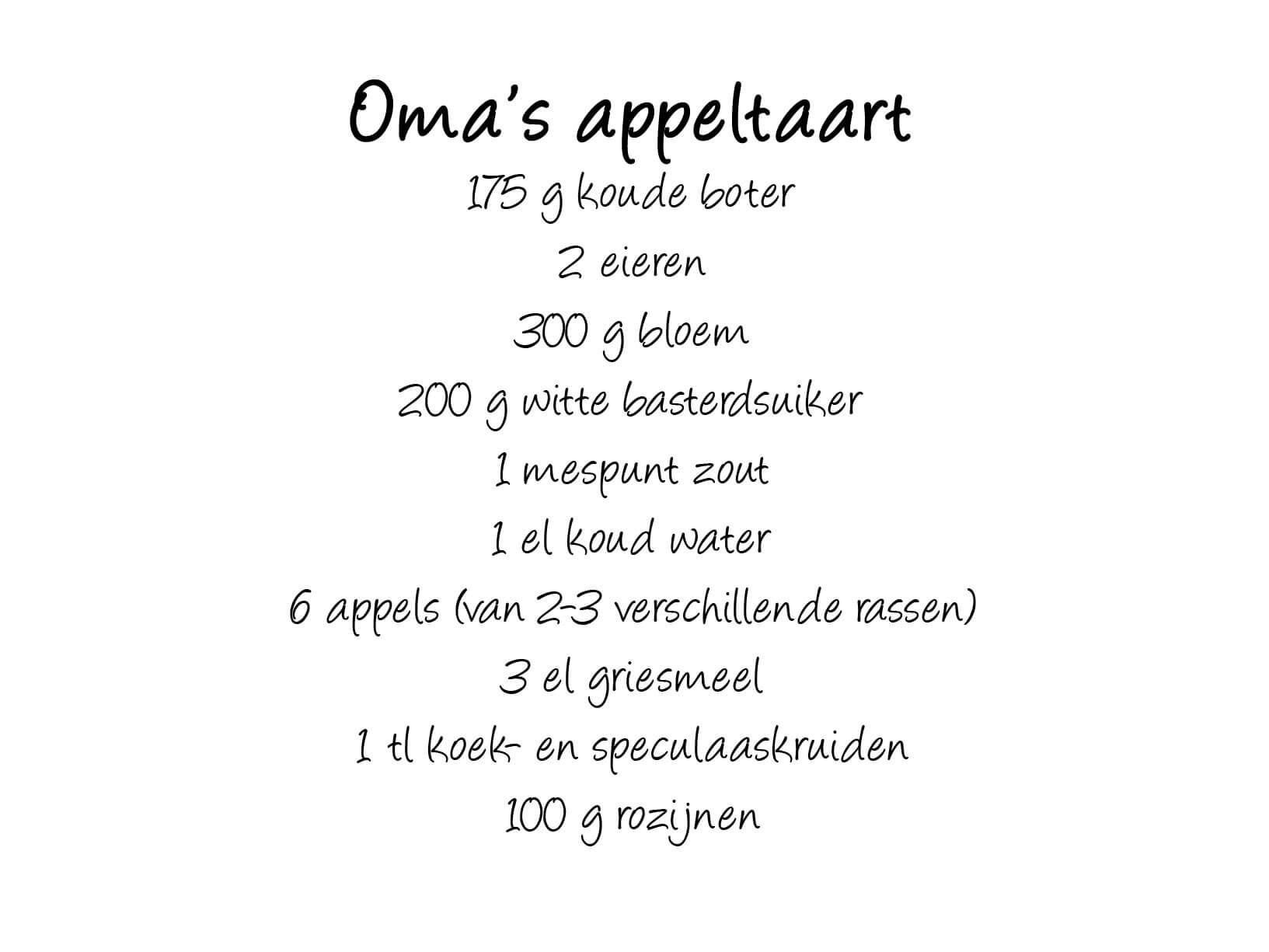 "Muurstickers Keuken Appeltaart : Muursticker recept ""oma's appeltaart"" – Keuken muurstickers"