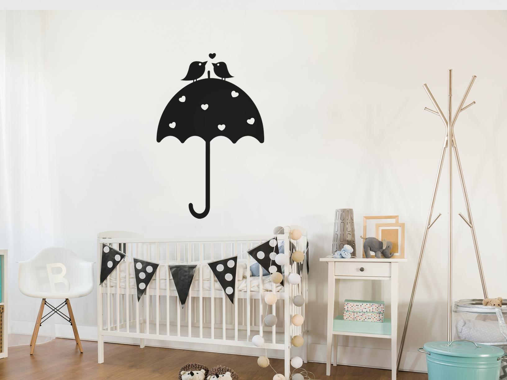 Muursticker paraplu met hartjes en vogeltjes - Deur wereldhuis paraplu ...
