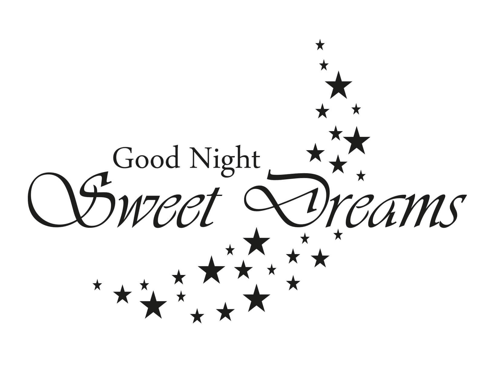 Muursticker u0026quot;Good Night, Sweet Dreamsu0026quot; met sterren maan - Teksten ...