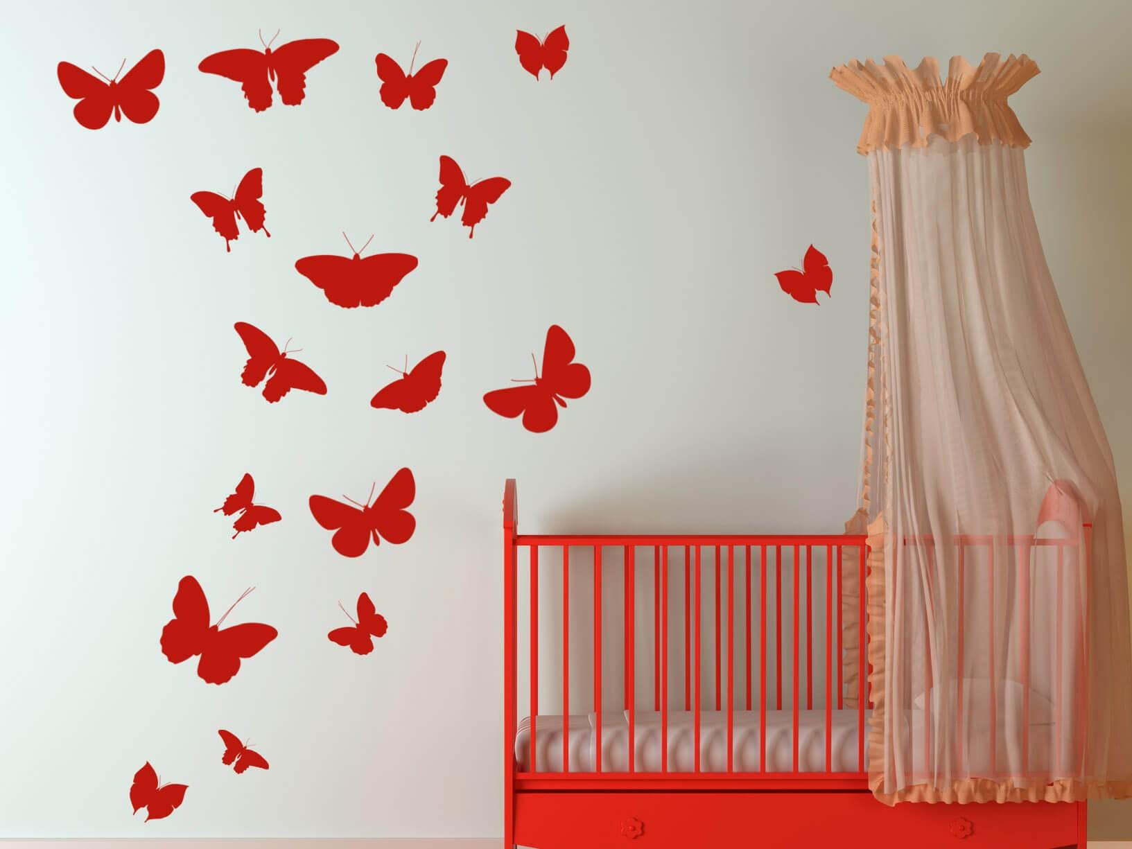 Muurstickers Slaapkamer Bloemen : Muursticker vlinders - Dieren ...