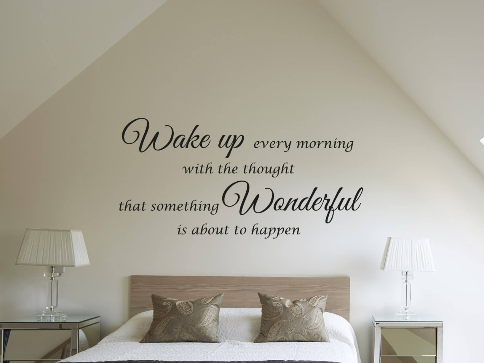 Muursticker wake up every morning slaapkamer muurstickers for Muurteksten woonkamer