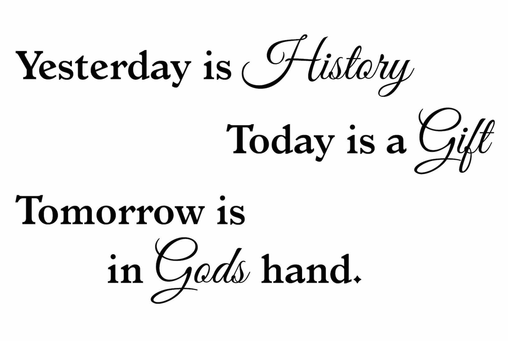 Muursticker Yesterday Is History Today Is A Gift Tomorrow Is In