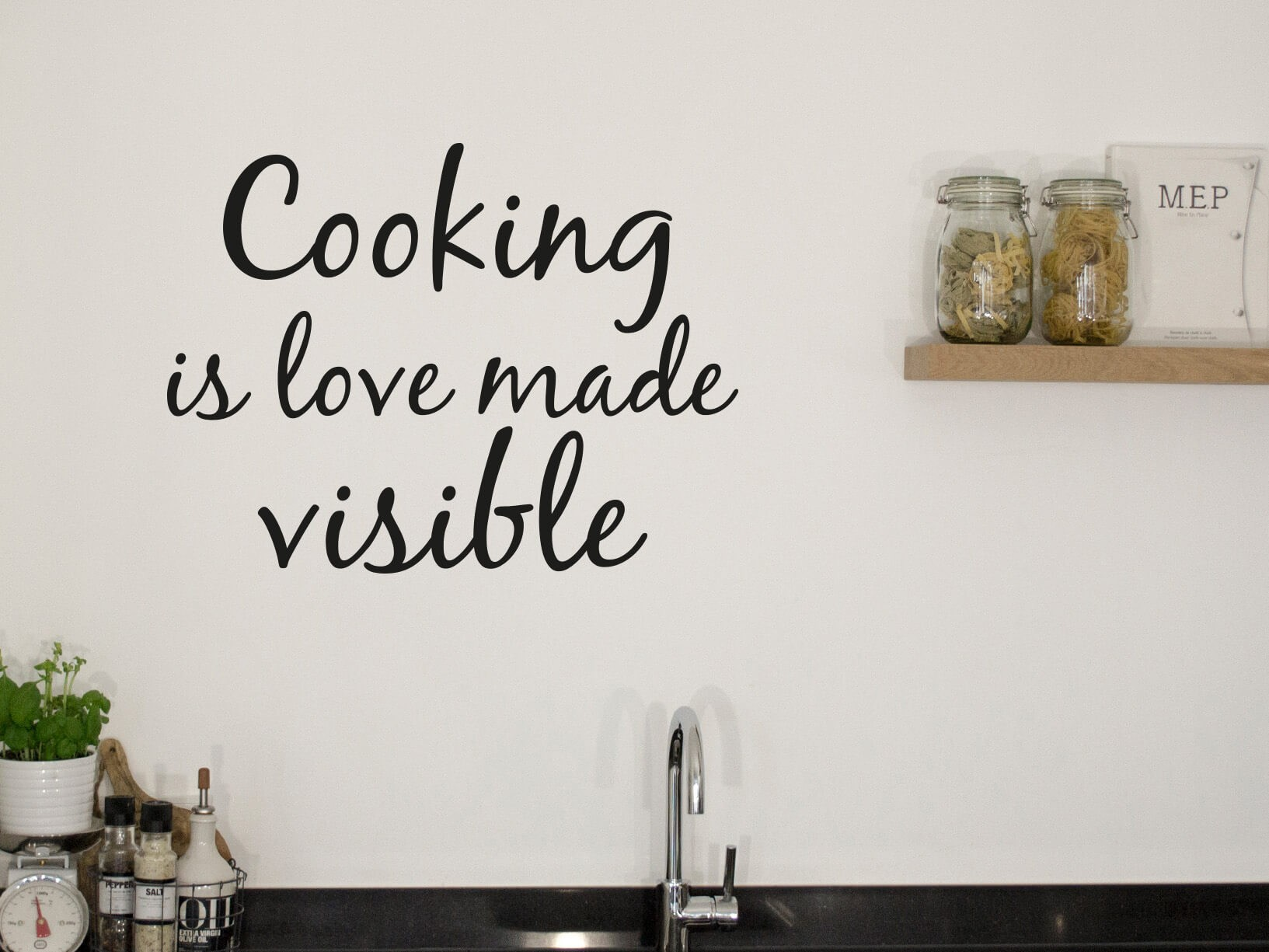 "Muursticker ""Cooking is love made visible"""