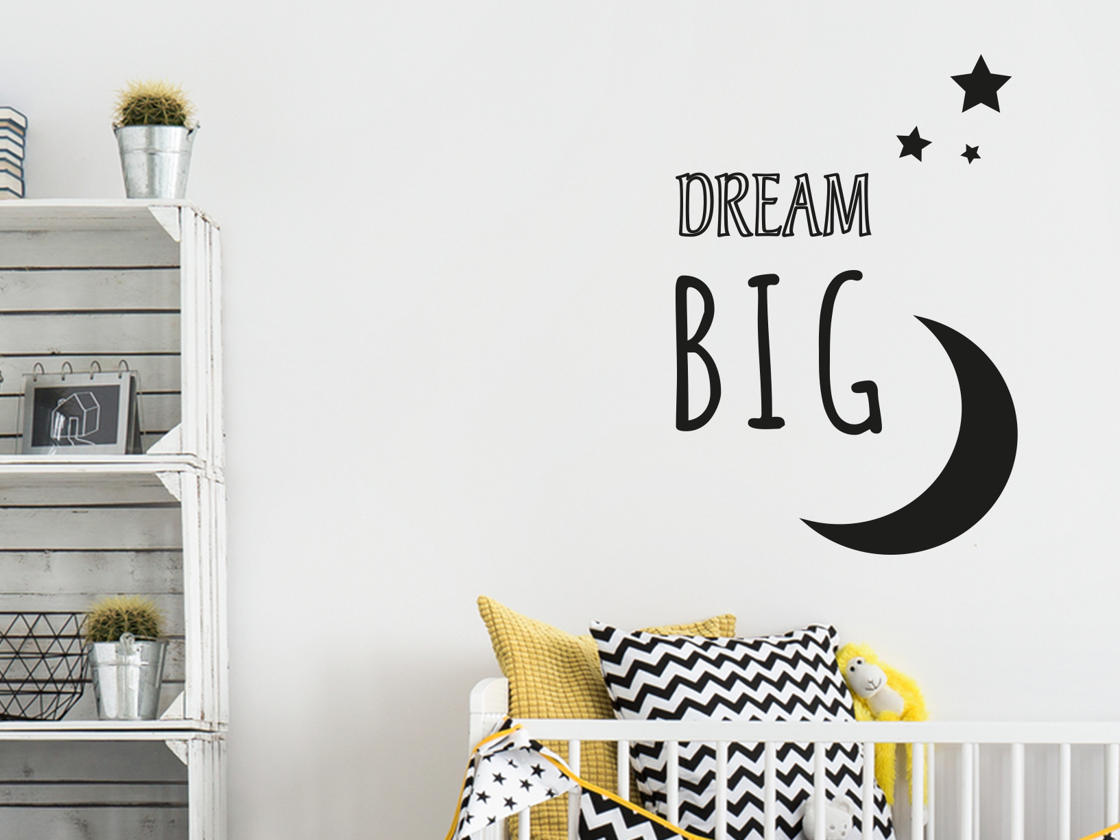 "Muursticker ""Dream big"" met sterren en maan"