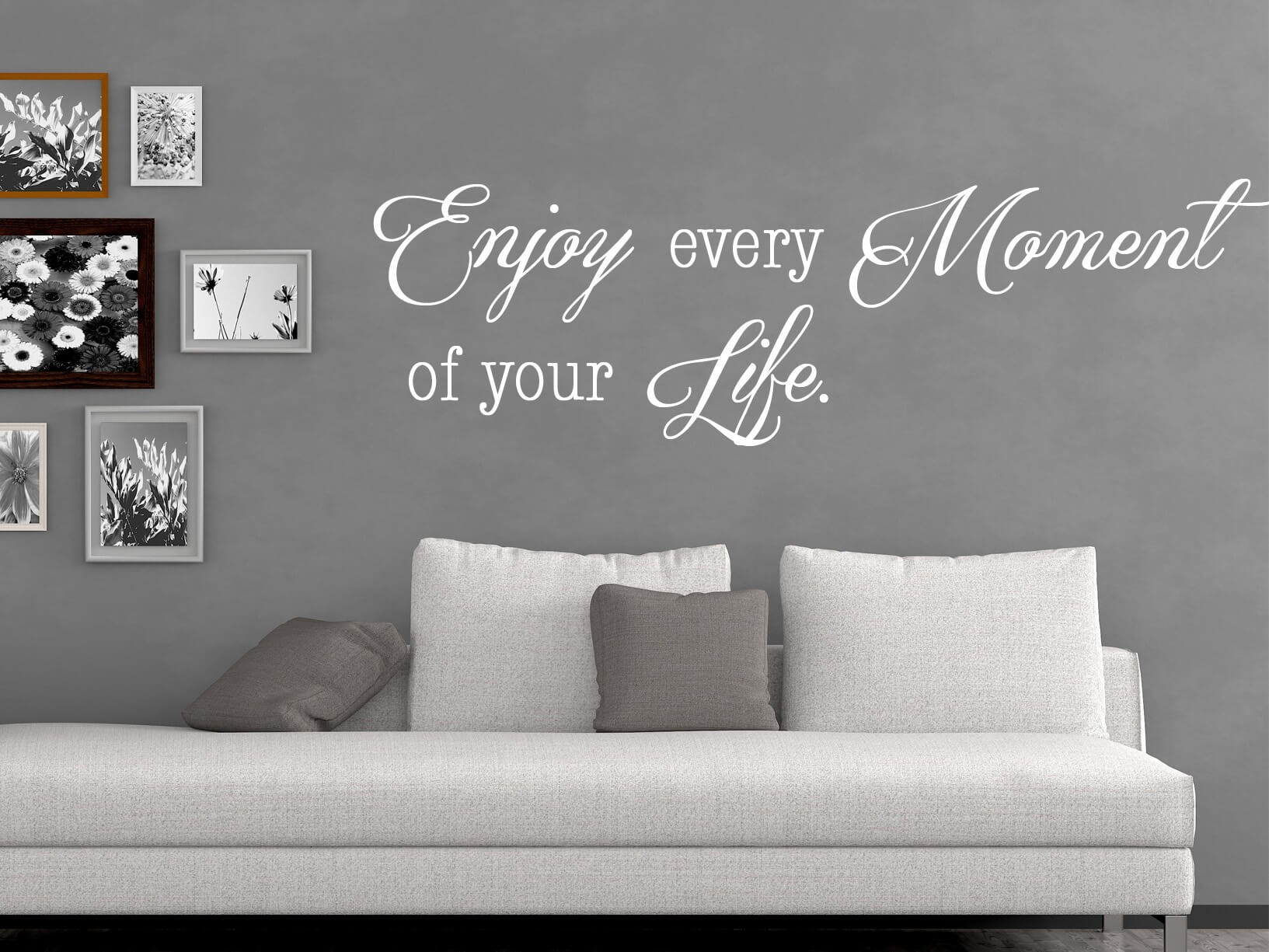 Muursticker enjoy every moment of your life for Muurteksten woonkamer