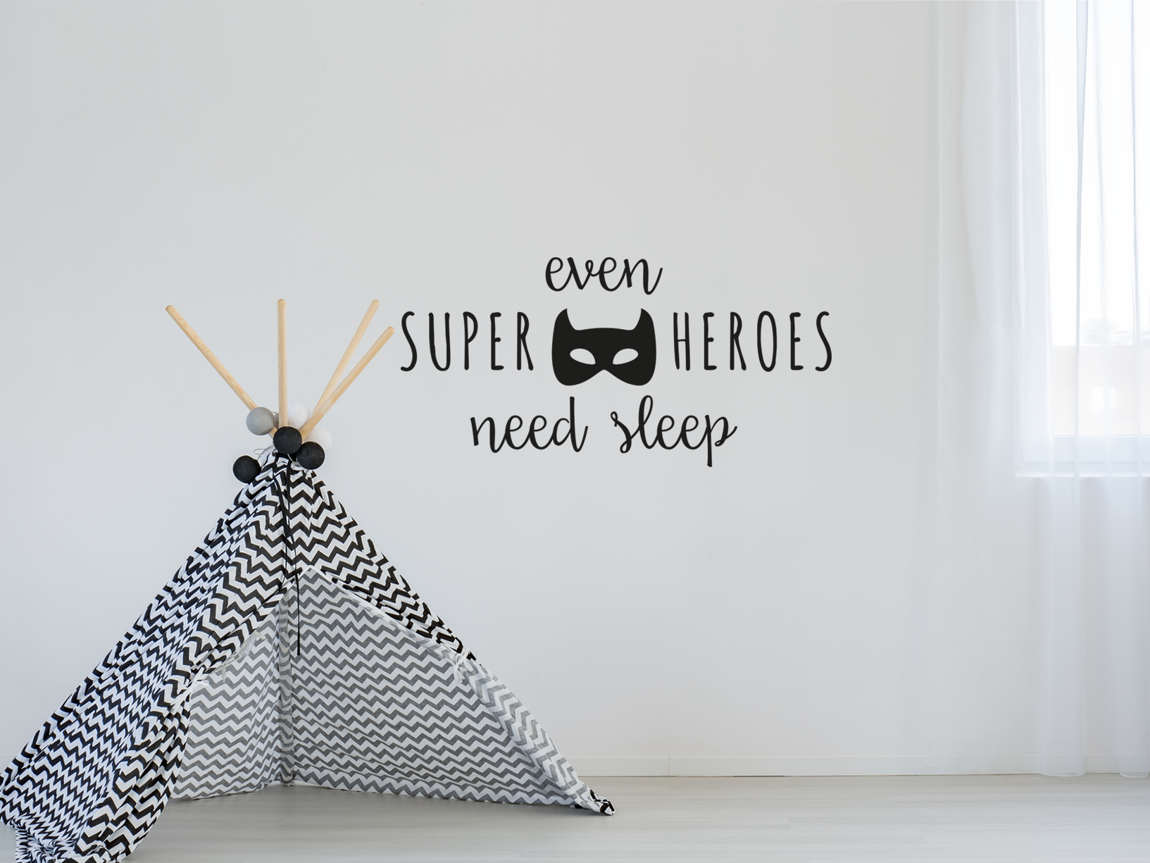 "Muursticker ""Even superheroes need sleep"" met batman masker"