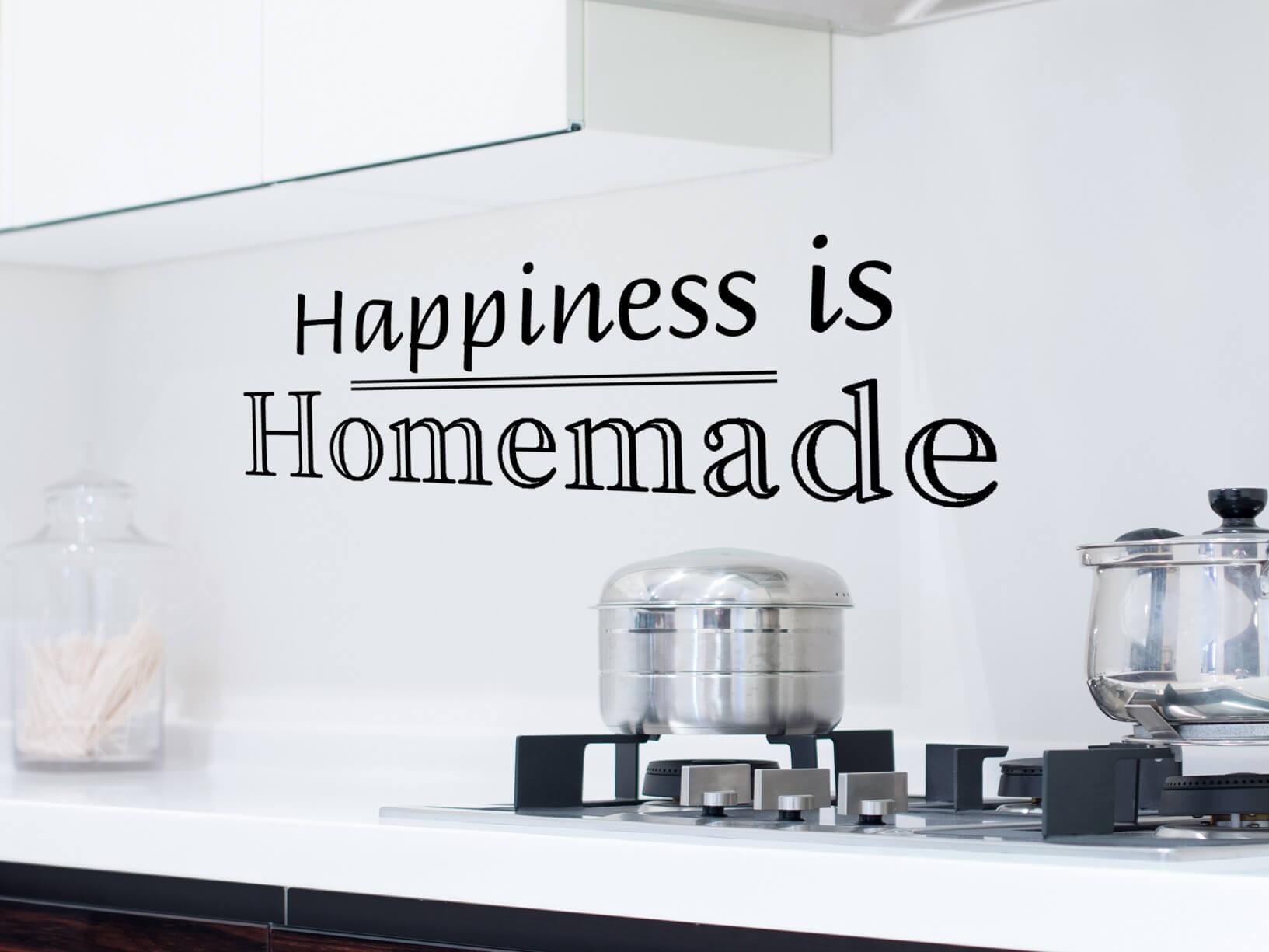 """Muursticker """"Happiness is homemade"""""""