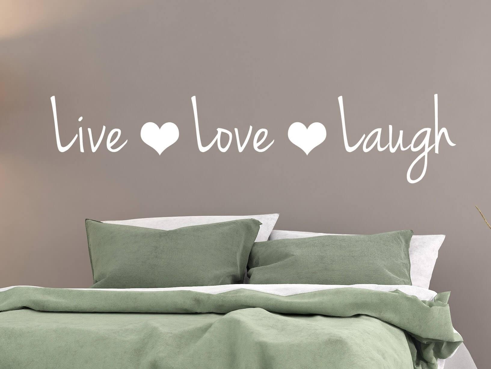 Muurstickers Slaapkamer Love.Muursticker Live Love Laugh Met Hartjes