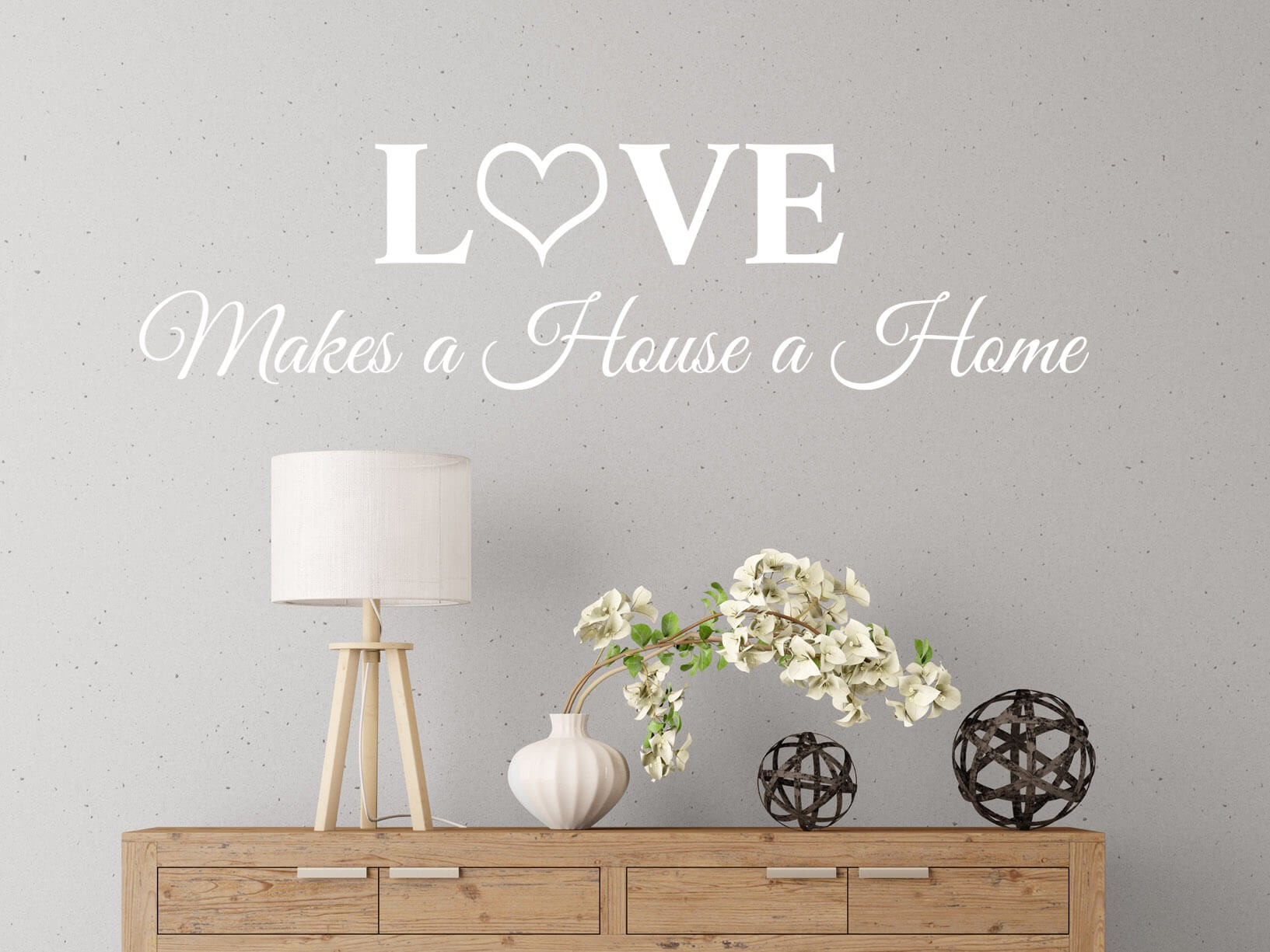 "Muursticker ""Love makes a House a Home"" sierletters"