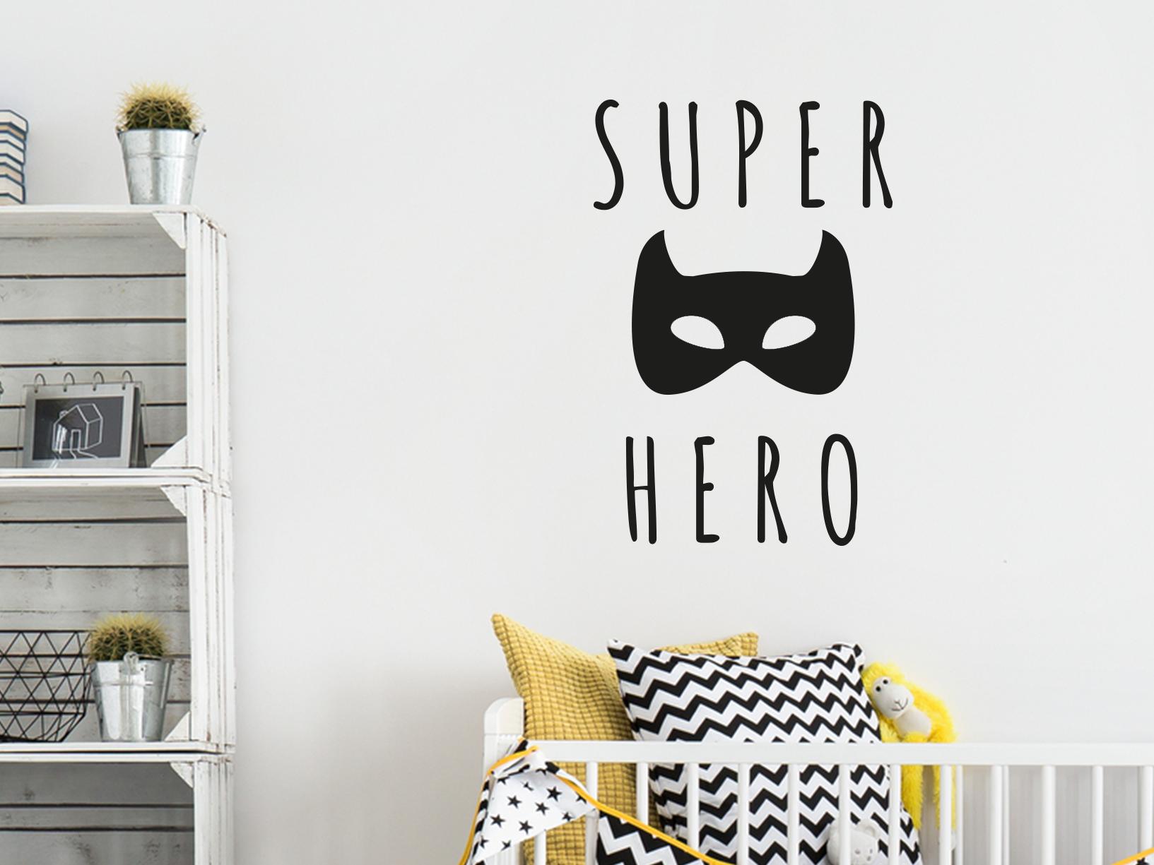 "Muursticker ""Superhero"" met batman masker"