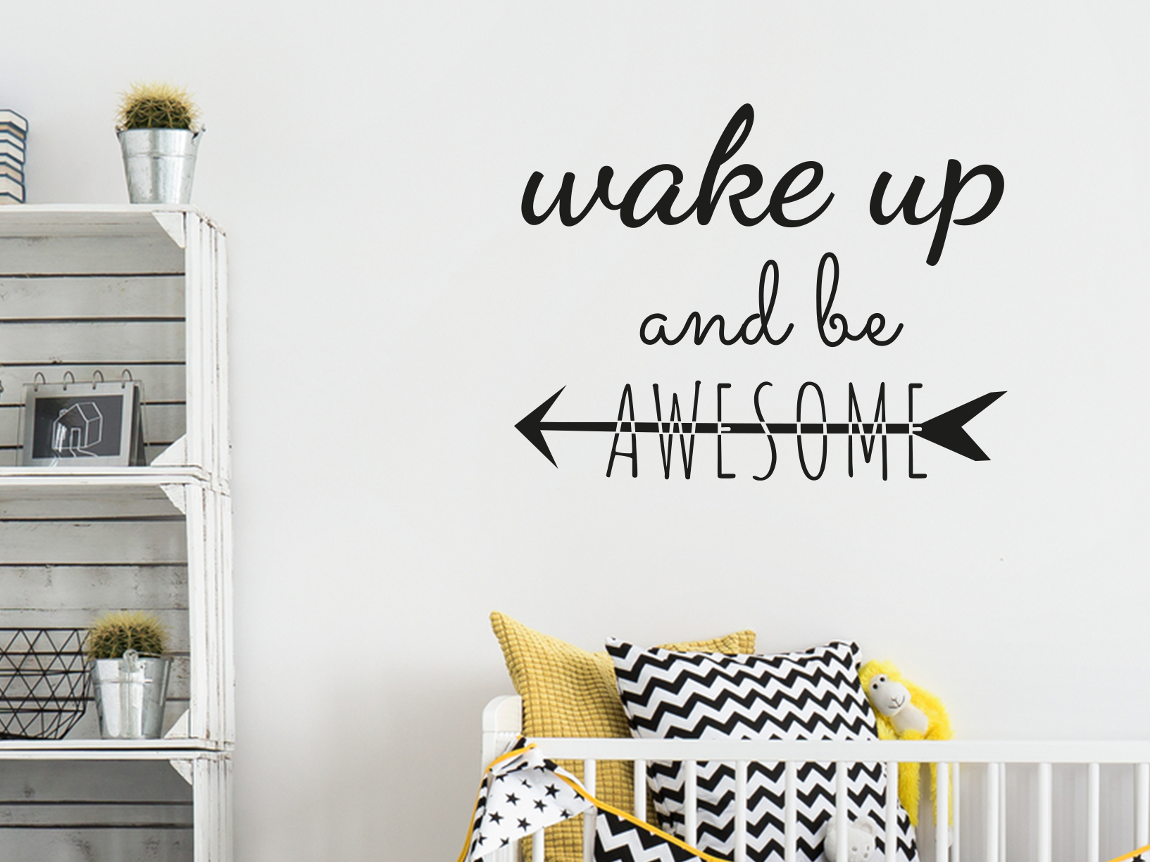 "Muursticker ""Wake up and be awesome"" met indianen pijl"