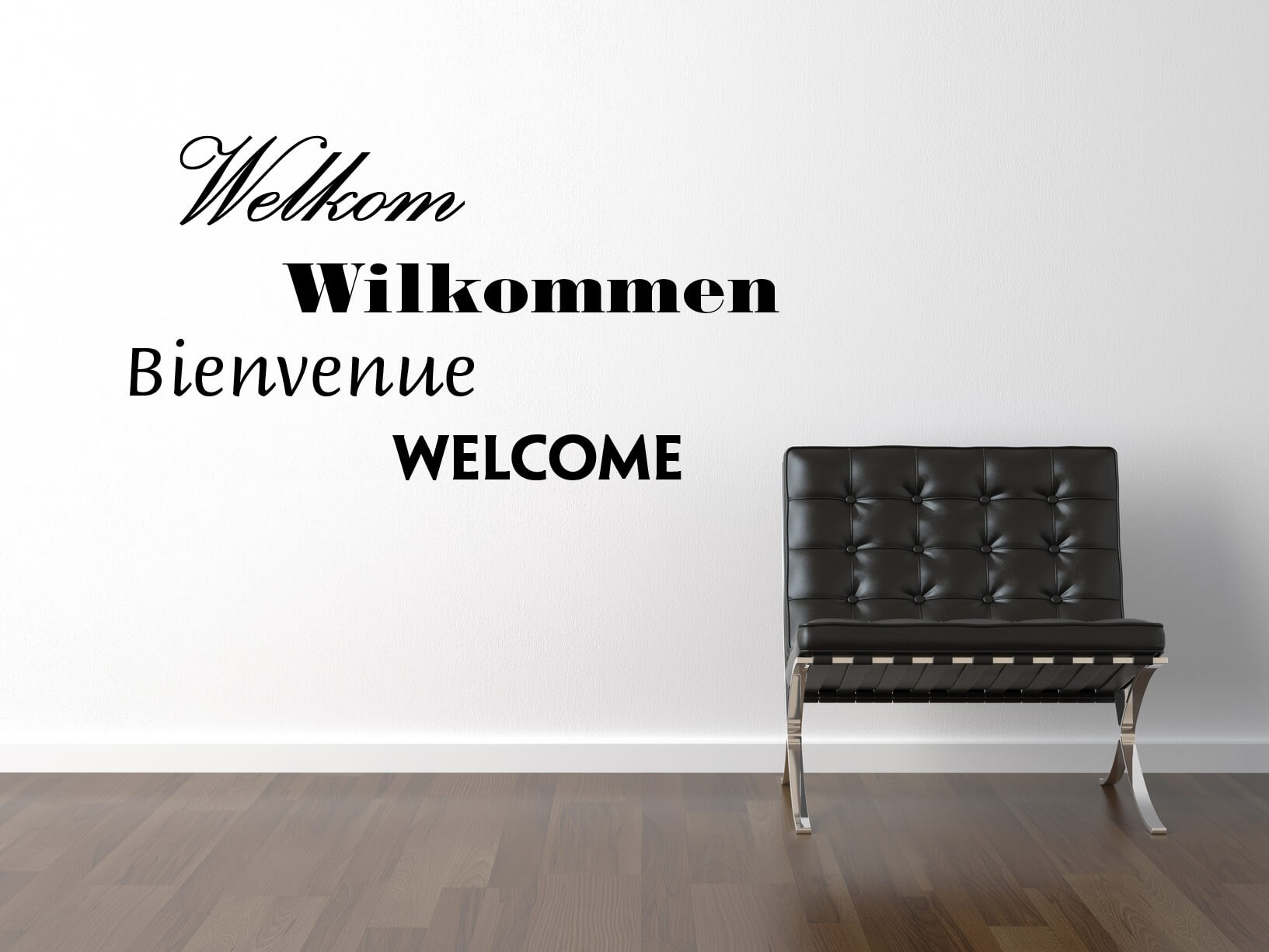 "Muursticker ""Welkom, Wilkommen, Bienvenue, Welcome"""