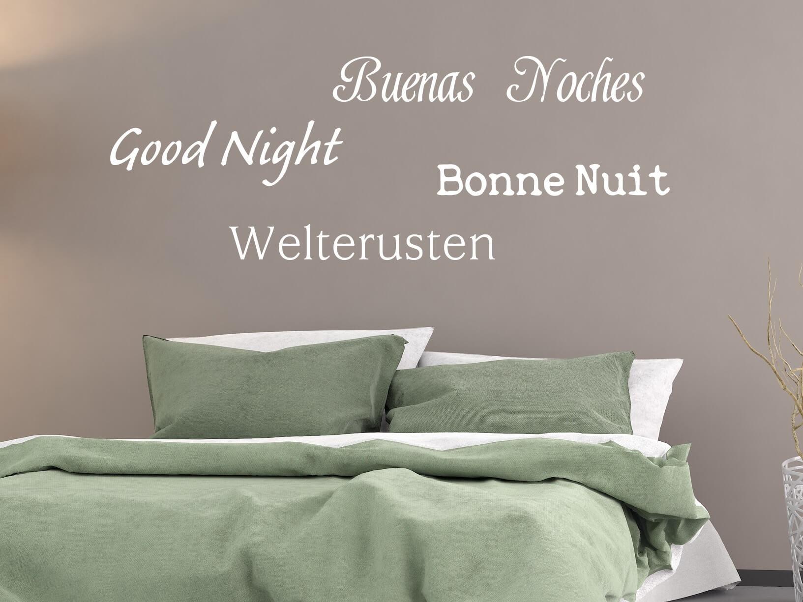 """Muursticker """"Welterusten, Good Night, Buenas Noches, Bonne Nuit"""""""