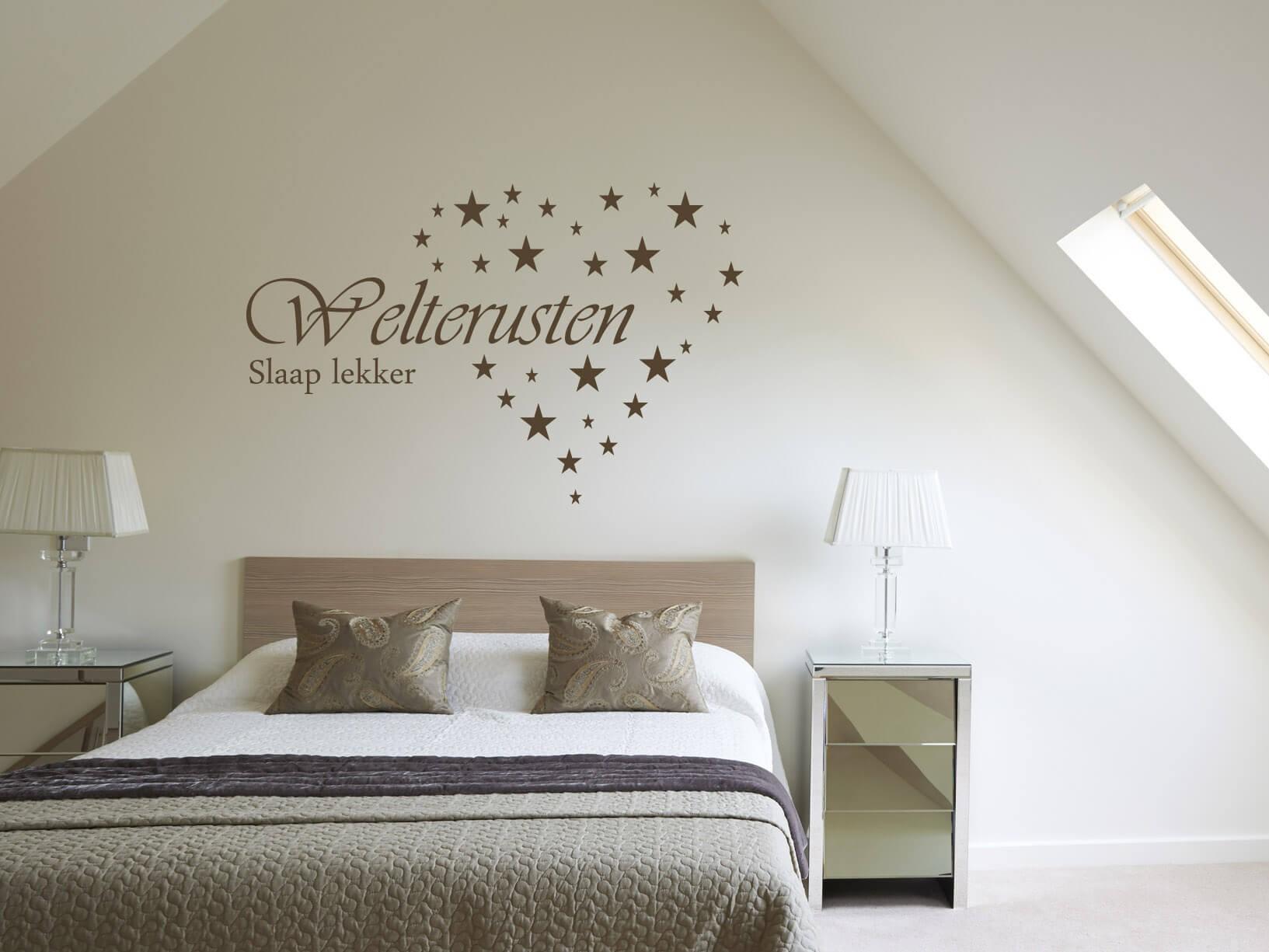 muursticker welterusten slaap lekker met sterren hart