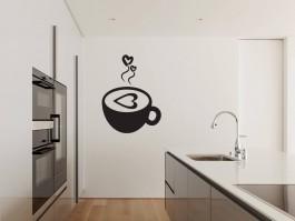 Muursticker koffiekopje met hartjes