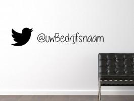 Muursticker Twitter vogeltje met eigen tekst