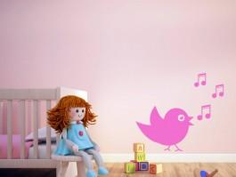 Muursticker zingend vogeltje met muzieknootjes