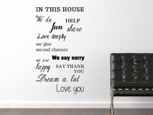 """Muursticker huisregels """"In this house"""""""