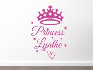 Muursticker Princess met naam