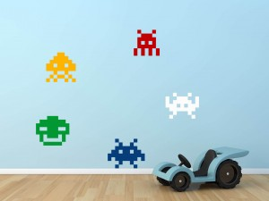 Muursticker Space Invaders