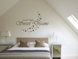 "Muursticker ""Good Night, Sweet Dreams"" met sterren maan"